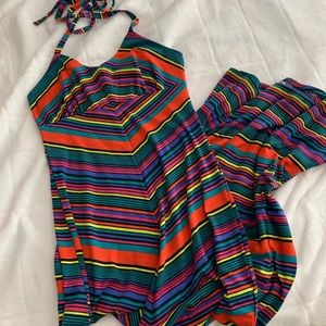 Stripes Halter Maxi Dress